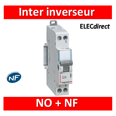 Legrand - Interrupteur inverseur 32A - Interrupteur NO + NF - 1 M - 250V - 412904