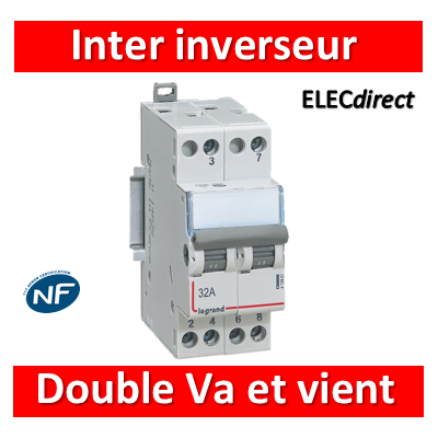 Legrand - Interrupteur inverseur 32A - Double Va et vient 1 M - 400V - 412901