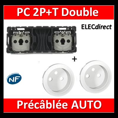 Legrand Céliane - Mécanisme + enjoliveur Double PC 2P+T 16A - Précâblée - 067124+068112x2