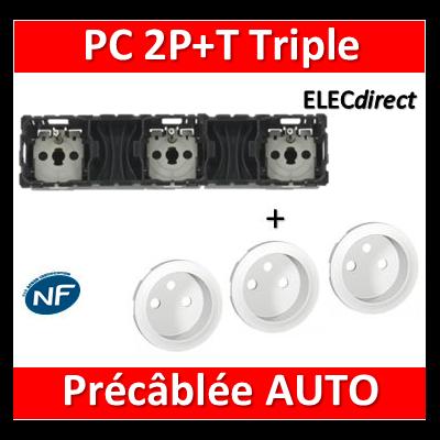 Legrand Céliane - Mécanisme + enjoliveur Triple PC 2P+T 16A - Précâblée - 067126+068112x3