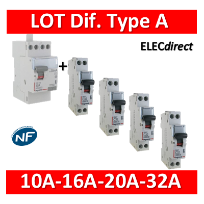 Legrand - LOT PROS - Différentiel type A équilibrage - 411617-406773-406774-406775-406777