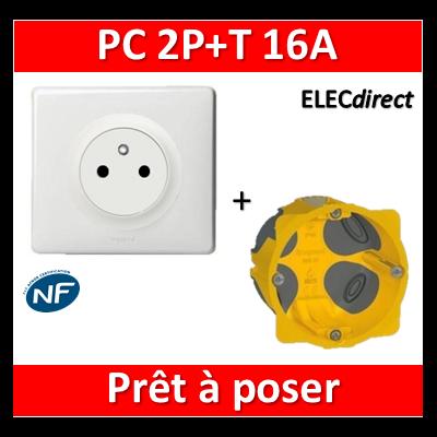 Legrand Céliane - Prêt à poser - Prise 2P+T complet + boîte batibox 1 poste BBC