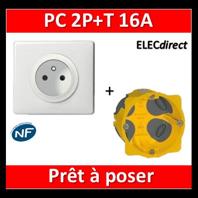 Legrand Céliane - Prêt à poser - Prise 2P+T standard complet + boîte batibox 1 poste BBC