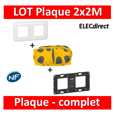 Legrand Mosaic - LOT - Plaque 2x2 modules - horizontal - 078804+080252+080022