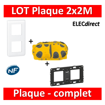 Legrand Mosaic - LOT - Plaque 2x2 modules - vertical - 078822+080252+080022
