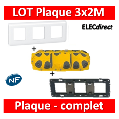 Legrand Mosaic - LOT - Plaque 3x2 modules - horizontal - 078806+080253+080023