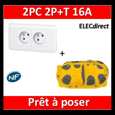 Legrand Mosaic - Prêt à poser - 2 Prises 2P+T 16A complet + boîte batibox 2 postes BBC