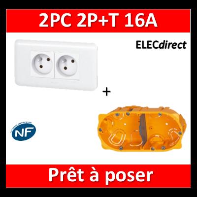 Legrand Mosaic - Prêt à poser - 2 Prises 2P+T 16A complet + boîte batibox 2 postes