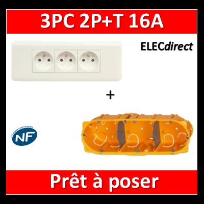 Legrand Mosaic - Prêt à poser - 3 Prises 2P+T 16A complet + boîte batibox 3 postes