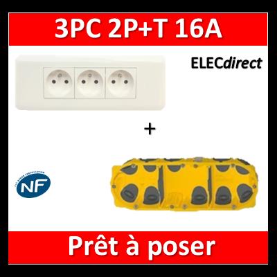 Legrand Mosaic - Prêt à poser - 3 Prises 2P+T 16A complet + boîte batibox 3 postes BBC