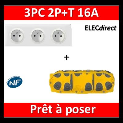 Legrand Céliane - Prêt à poser - 3 Prises 2P+T standard complet + boîte batibox 3 postes BBC