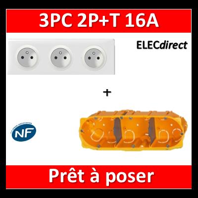 Legrand Céliane - Prêt à poser - 3 Prises 2P+T standard complet + boîte batibox 3 postes