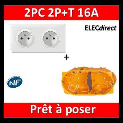 Legrand Céliane - Prêt à poser - 2 Prises 2P+T standard complet + boîte batibox 2 postes