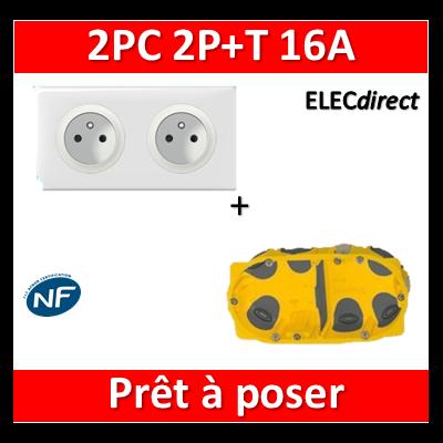 Legrand Céliane - Prêt à poser - 2 Prises 2P+T standard complet + boîte batibox 2 postes BBC