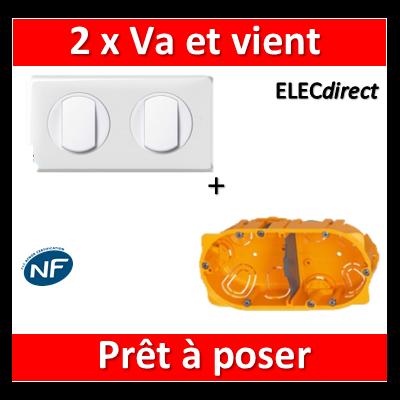 Legrand Céliane - Prêt à poser - 2 Va et vient complet + boîte batibox 2 postes