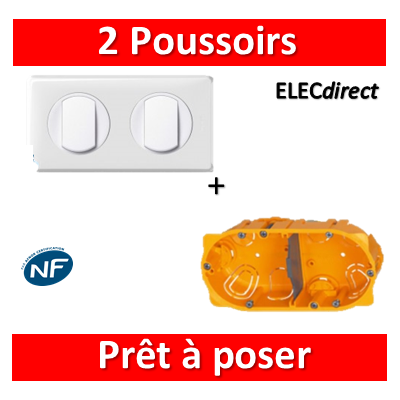 Legrand Céliane - Prêt à poser - 2 Poussoirs + boîte batibox 2 postes
