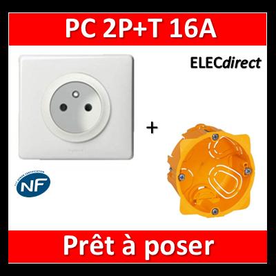 Legrand Céliane - Prêt à poser - Prise 2P+T Standard complet + boîte batibox 1 poste