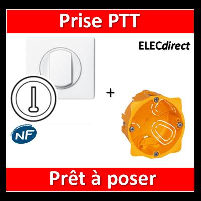 Legrand Céliane - Prêt à poser - Prise PTT complet + boîte batibox 1 poste