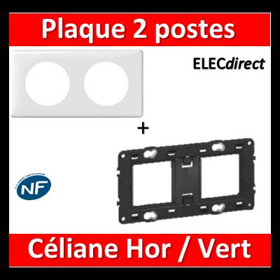 Legrand Céliane - Plaque de finition 2 postes + support - Blanc - 066632+080252