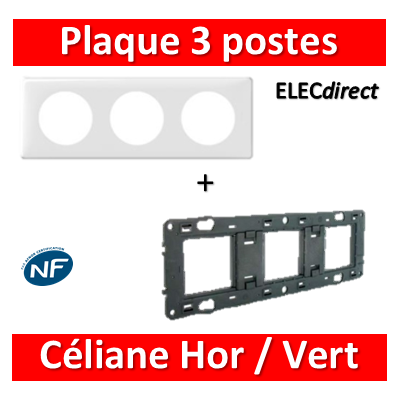 Legrand Céliane - Plaque de finition 3 postes + support - Blanc - 066633+080253