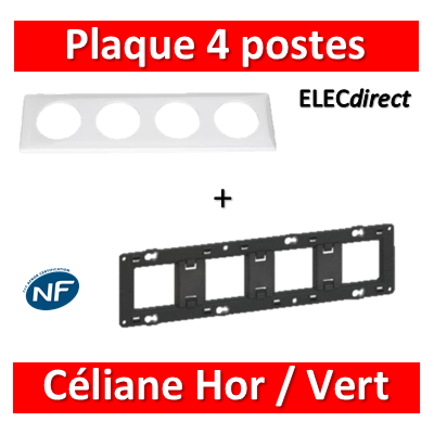 Legrand Céliane - Plaque de finition 4 postes + support - Blanc - 066634+080254