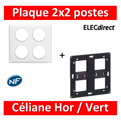 Legrand Céliane - Plaque de finition 2x2 postes + support - Blanc - 068608+080264