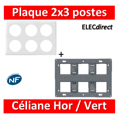 Legrand Céliane - Plaque de finition 2x3 postes + support - Blanc - 068609+080266
