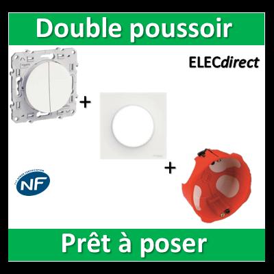 Schneider Odace - Double Poussoir + plaque + boîte d'encastrement SIB BBC - s520216+s520702+36840