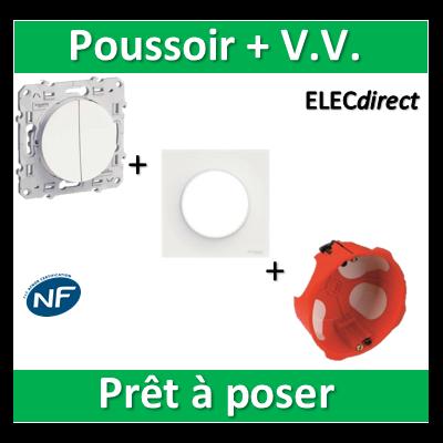 Schneider Odace - Poussoir + VV + plaque + boîte d'encastrement SIB BBC - s520285+s520702+36840