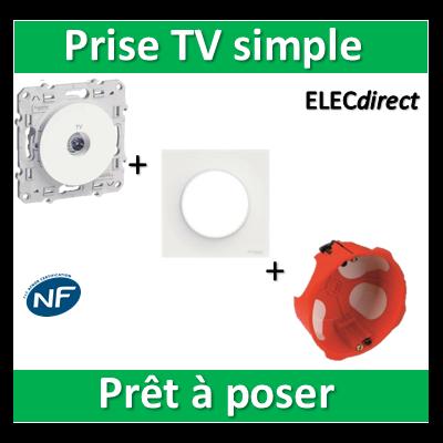 Schneider Odace - Prise TV + plaque + boîte d'encastrement SIB BBC - s520445+s520702+36840
