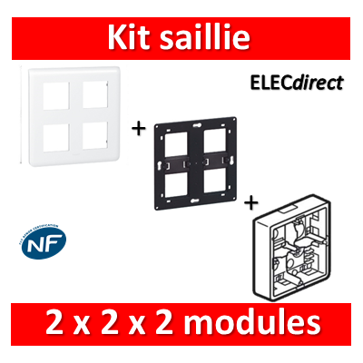 Legrand Mosaic -  Kit Cadre saillie 2x2x2 modules - 080274+080264+078838