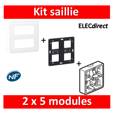 Legrand Mosaic -  Kit Cadre saillie 2x2x2 modules - 080274+080264+078830