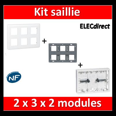 Legrand Mosaic -  Kit Cadre saillie 2x3x2 modules - 080276+080266+078832
