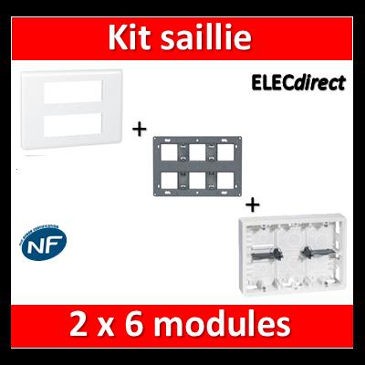 Legrand Mosaic -  Kit Cadre saillie 2x6 modules - 080276+080266+078836