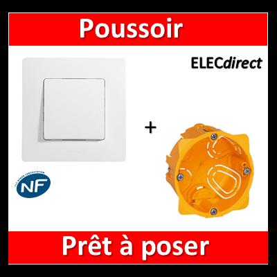 Legrand Niloé - Poussoir Blanc + plaque + boîte encastrée Batibox - 664705+665001+080041