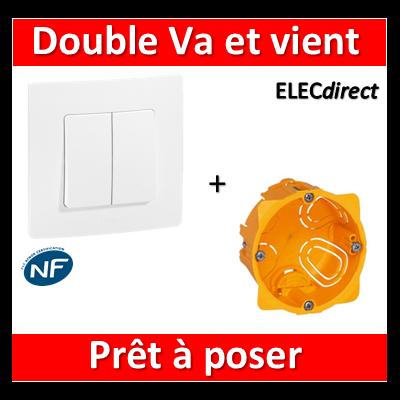 Legrand Niloé - Double VV Blanc + plaque + boîte encastrée Batibox - 664702+665001+080041