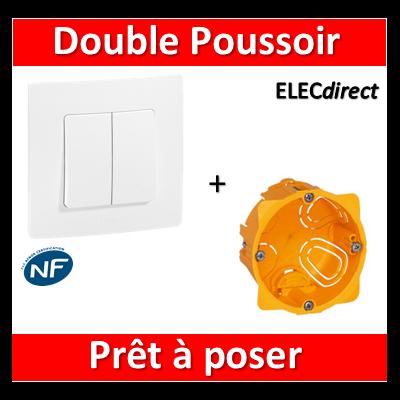 Legrand Niloé - Double Poussoir + plaque + boîte encastrée Batibox - 664708+665001+080041