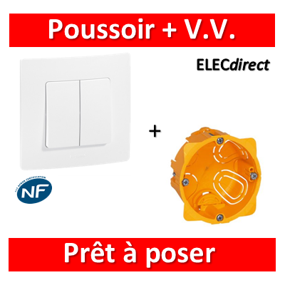 Legrand Niloé - Poussoir+VV + plaque + boîte encastrée Batibox - 664709+665001+080041