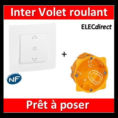 Legrand Niloé - Inter. V.R. Blanc + plaque + boîte encastrée Batibox - 664711+665001+080041