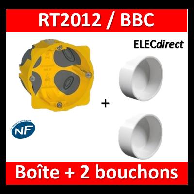 Legrand Batibox - Boîte d'encastrement 1 poste + bouchons BBC SIB - 080021+P0325021x2