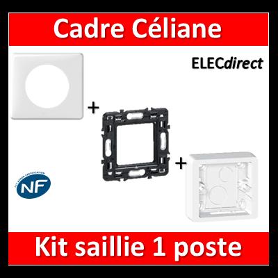 Legrand Céliane - Cadre + plaque + support 1 poste prof.40 - 080241+080251+066631