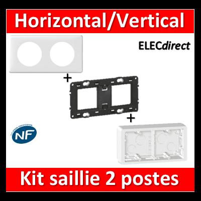 Legrand Céliane - Cadre + plaque + support 2 postes prof.40 - 080242+080252+066632