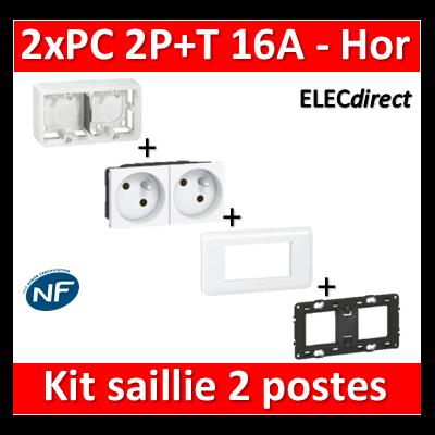 Legrand Mosaic - 2xPC 2P+T 16A saillie complet horizontal