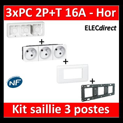 Legrand Mosaic - 3xPC 2P+T 16A saillie complet horizontal