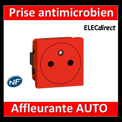 Legrand Mosaic - Prise 2P+T rouge antimicrobien 16A - 230V - 077133