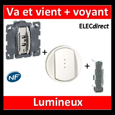 Legrand Céliane - Mécanisme + voyant + enjoliveur - Va et vient lumineux 10A - 067001+068003+067686