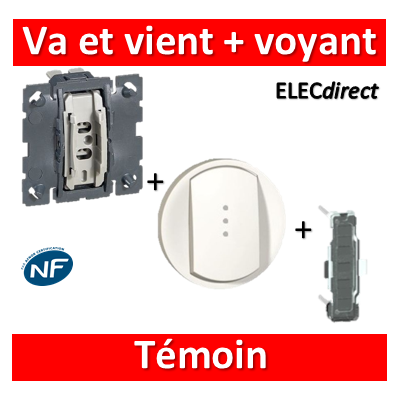 Legrand Céliane - Mécanisme + voyant + enjoliveur - Va et vient témoin 10A - 067001+068003+067688