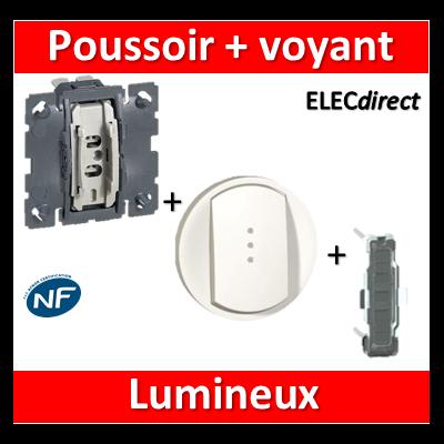 Legrand Céliane - Mécanisme + voyant + enjoliveur - Poussoir lumineux 6A - 067031+068003+067686