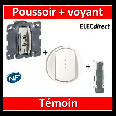 Legrand Céliane - Mécanisme + voyant + enjoliveur - Poussoir témoin 6A - 067034+068003+067688