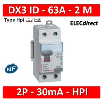 LEGRAND - Interrupteur Différentiel 2P - 63A - 30ma Type HPI Départ Bas - 411592